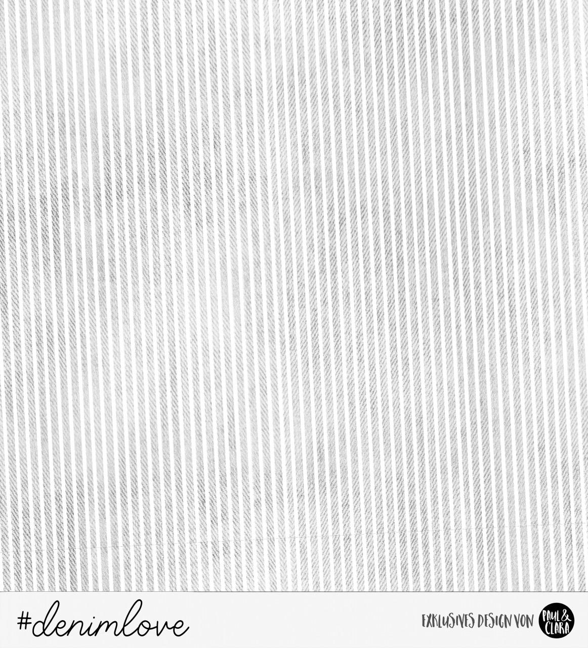 88 cm RESTSTÜCK-denimlove STRIPES  - Grau *Bio-Sommersweat*-