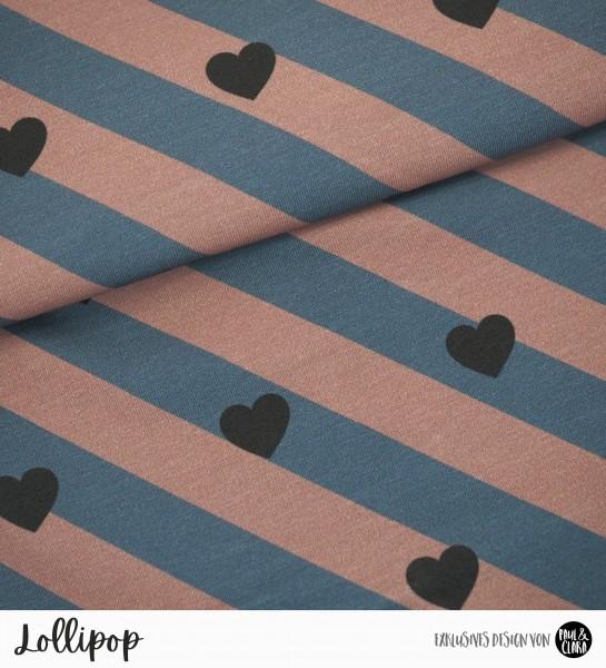 Lollipop - Rosewood/Rauchblau HERZEN *Bio-Jersey*