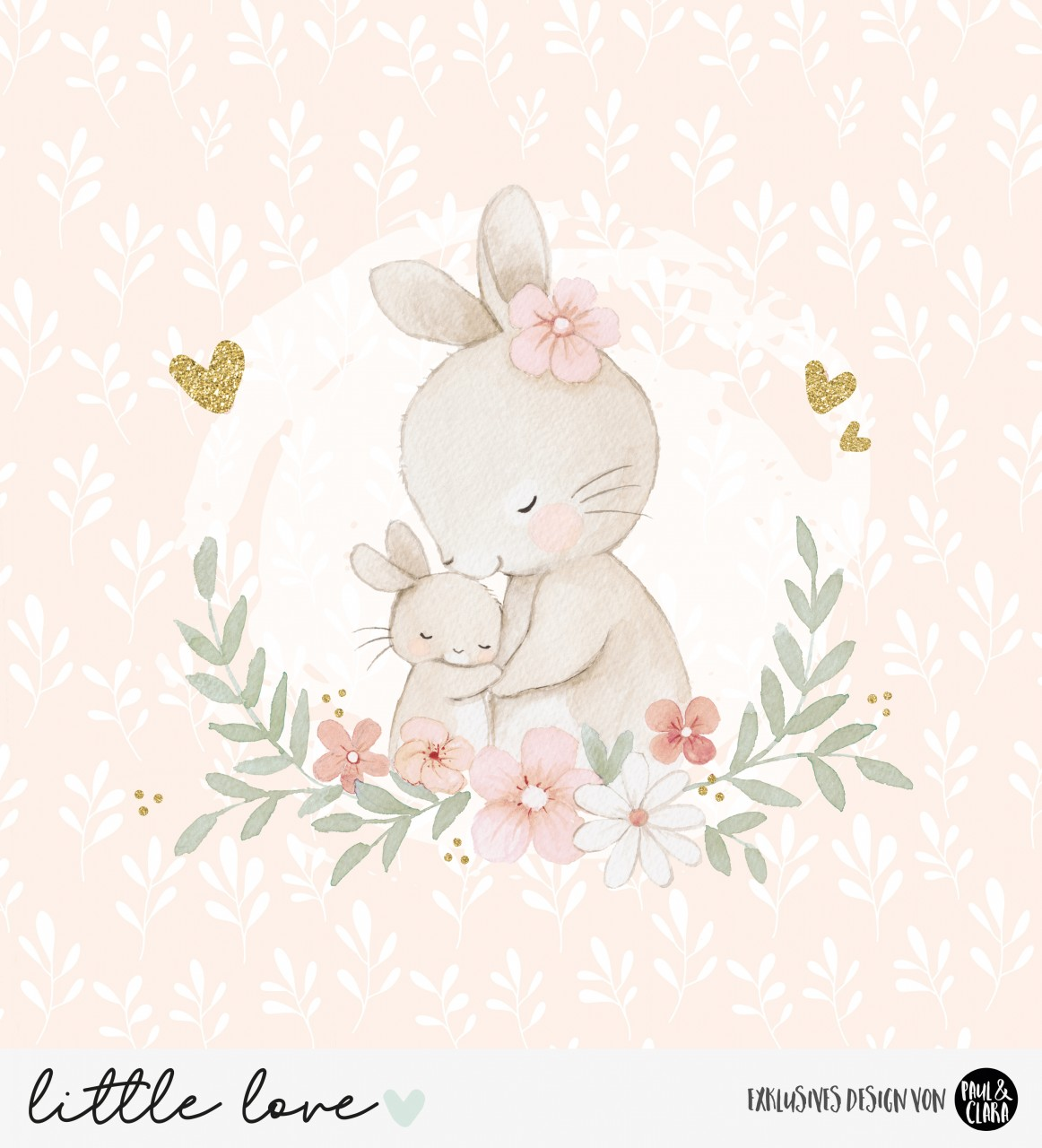 little love  - Panel Hasenmama PEACH *Bio-Jersey*