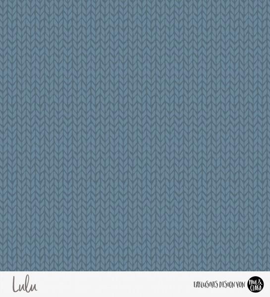 69 cm RESTSTÜCK-Lulu Winter - Stickkombi Blau *Bio-Sommersweat*-