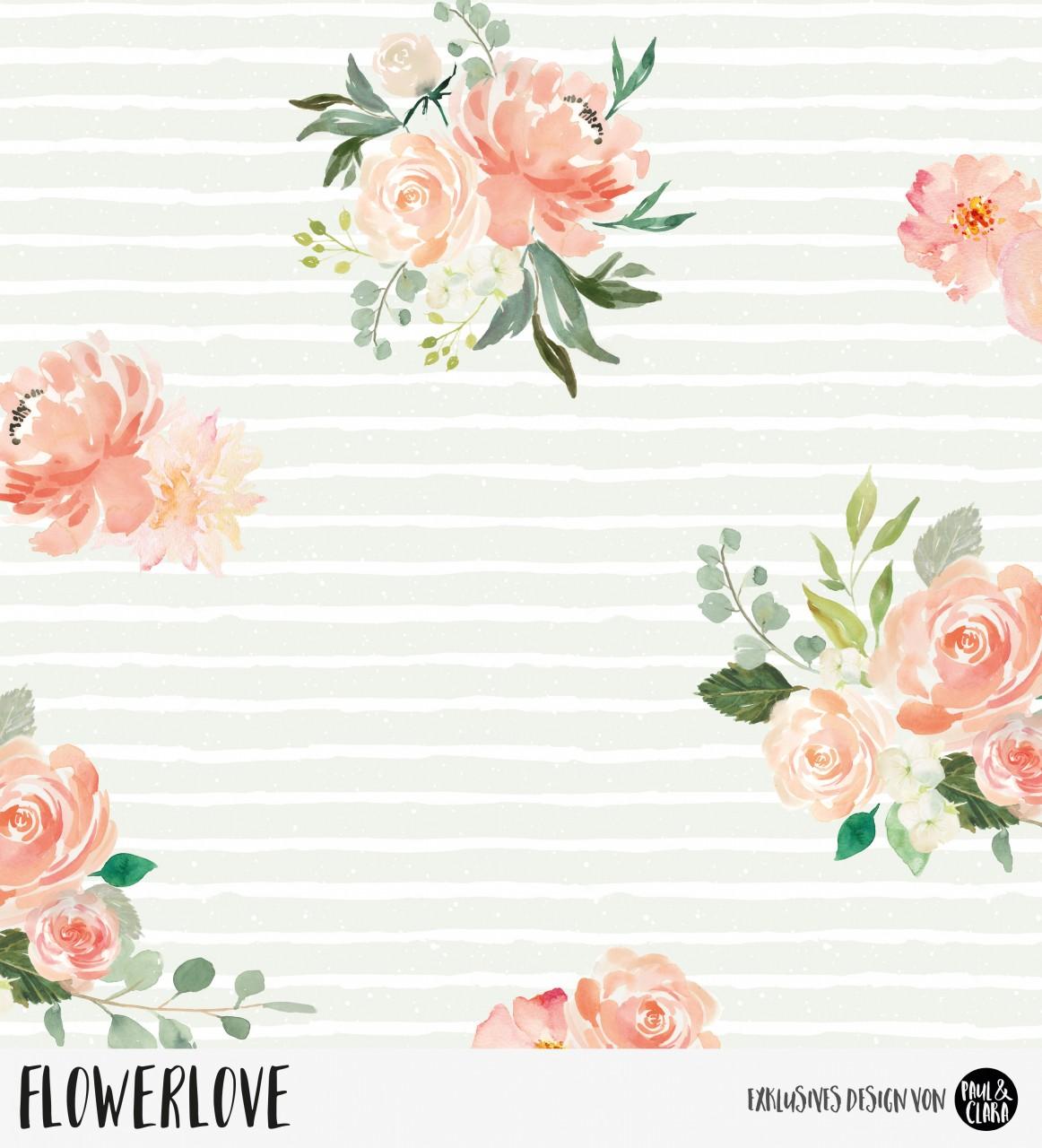 81 cm RESTSTÜCK-Flowerlove - Mint *Bio-Sommersweat*