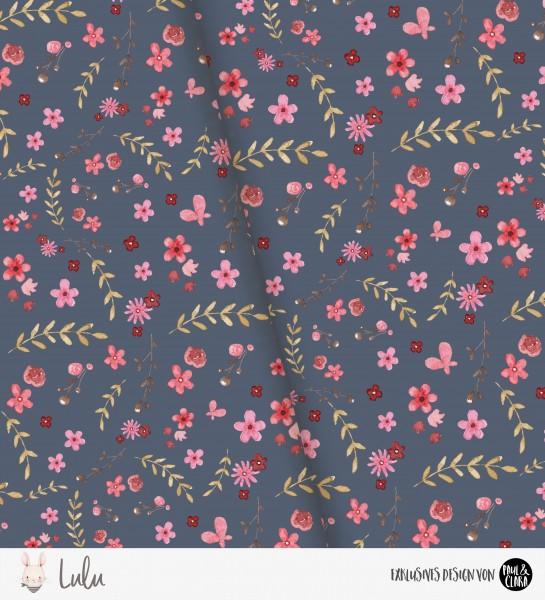 Lulu - Flowers Dunkelblau *Bio-Jersey*