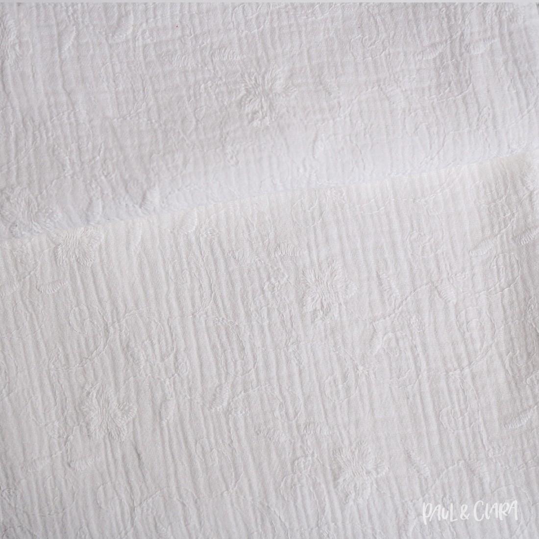 Baumwolle Musselin bestickt - Weiß