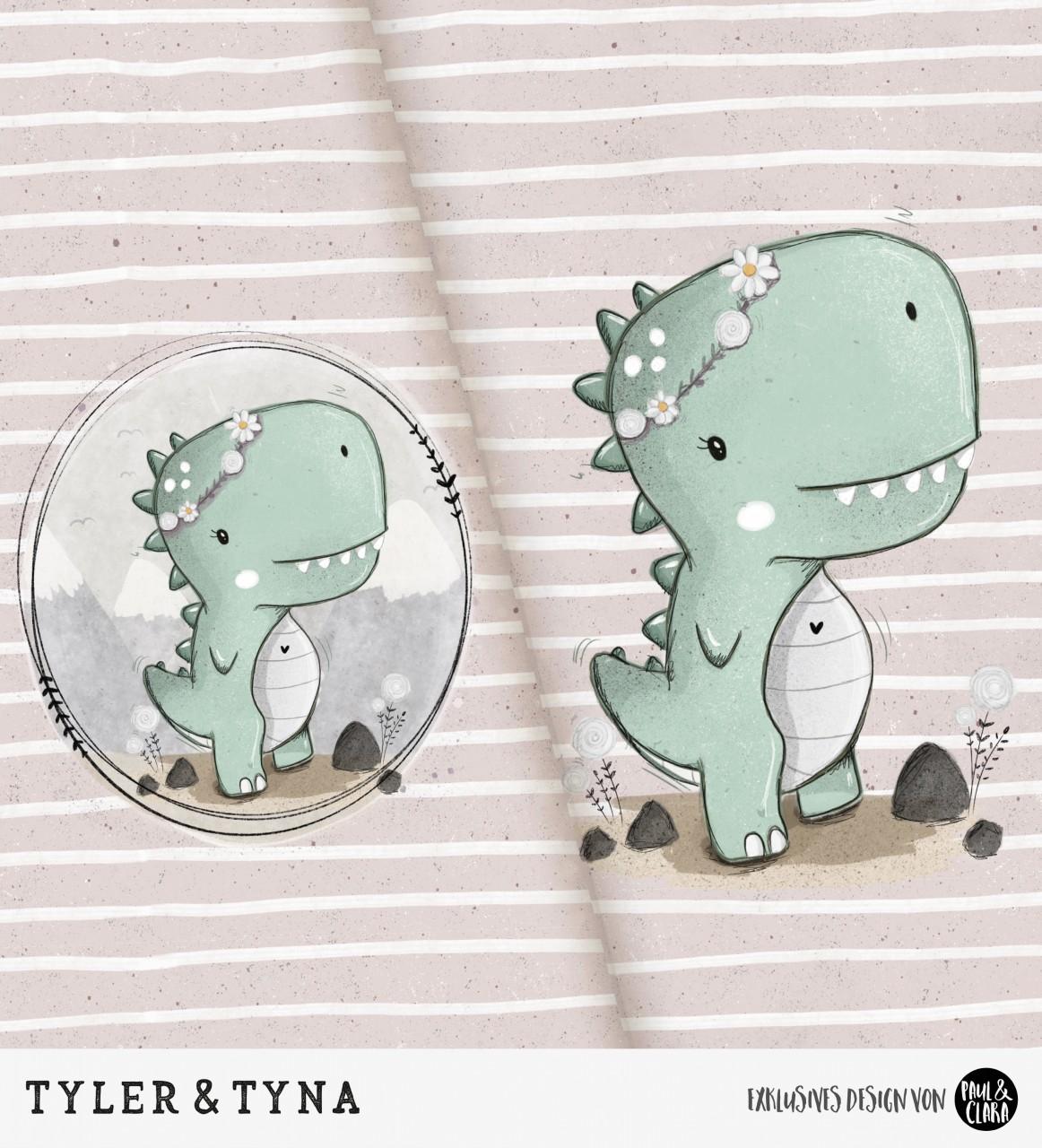 50 cm RESTSTÜCK-Tyler & Tyna - Panel Rose *Bio-Jersey*-