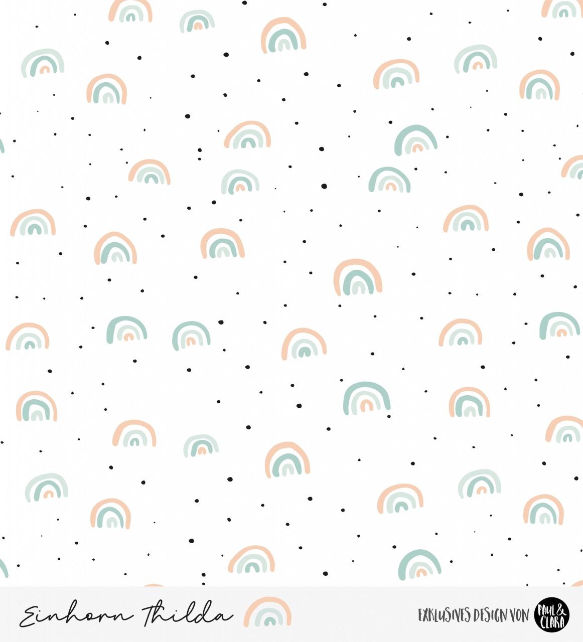 Einhorn Thilda - Regenbögen Weiß *Bio-Sommersweat*