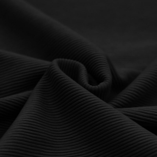 Feinripp Cord Jersey - Schwarz