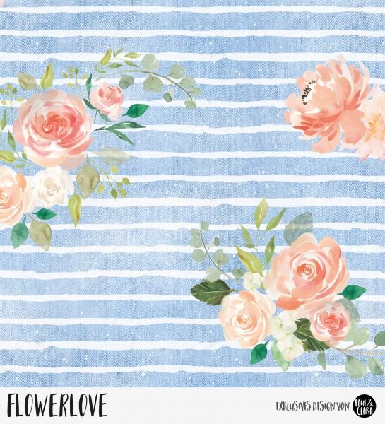 92 cm RESTSTÜCK-Flowerlove - Denim *Bio-Sommersweat*-