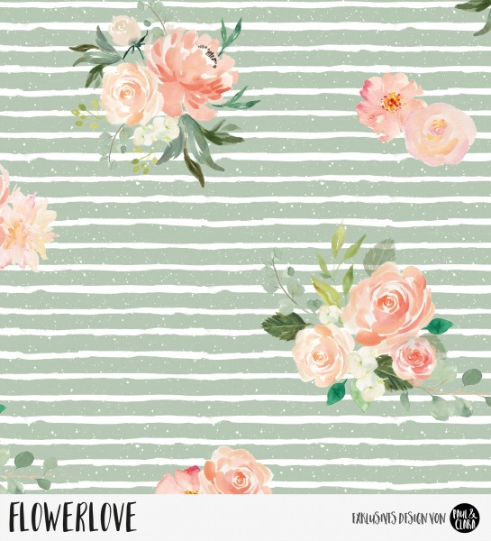 73 cm RESTSTÜCK-Flowerlove - Grün *Bio-Sommersweat*-