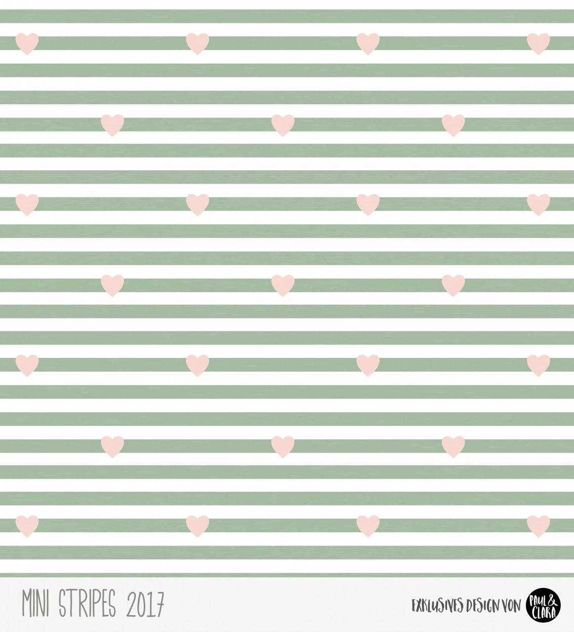 Eigenproduktion Mini Stripes meliert - Herzen Rauchgrün/Rose