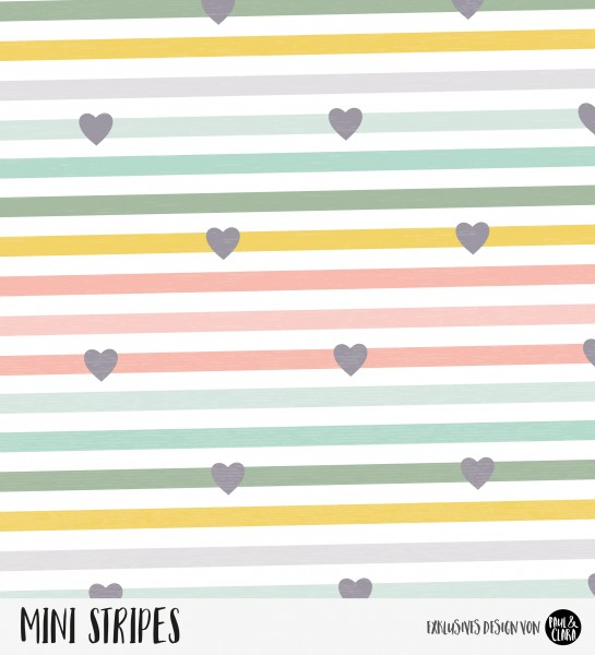 "*VB""Mini Stripes meliert - Herzen Rainbow Lollypop Lachs/Grün/Gelb *Bio-Jersey*"