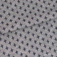 Bündchen Jacquard - Grau meliert Kreuze Blau *Schlauchware*