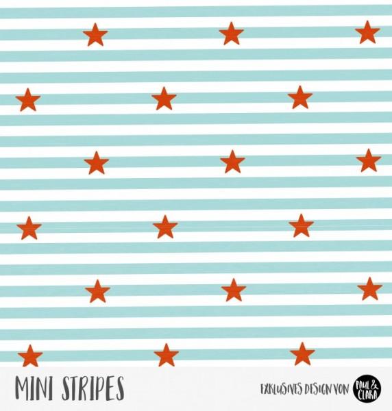 Eigenproduktion Mini Stripes meliert - Sterne Ozeanblau/Kaminrot Jersey
