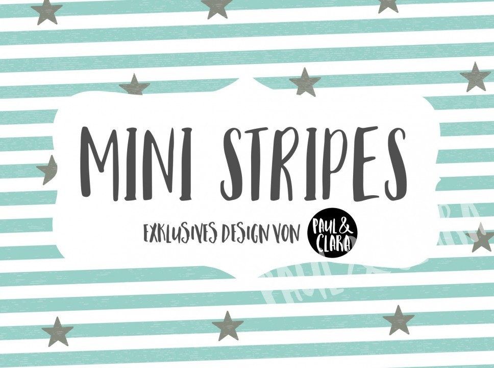 Eigenproduktion Mini Stripes meliert - Sterne Türkis/Grau