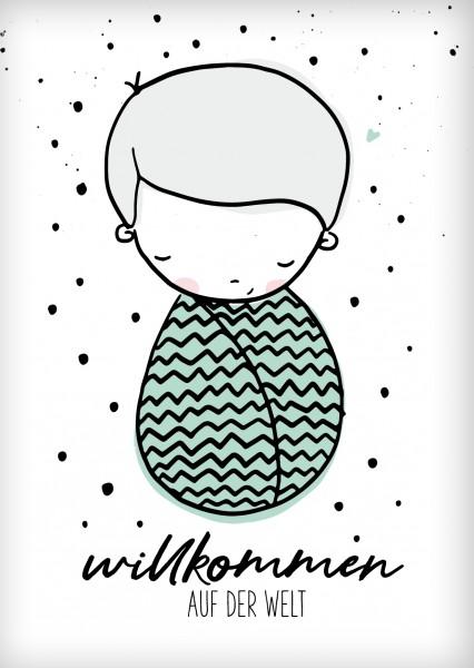 Postkarte *Willkommen Babyboy* A6
