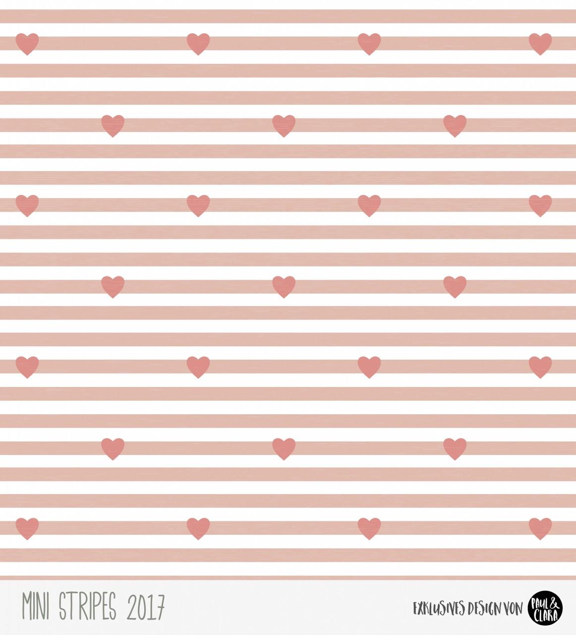 Eigenproduktion Mini Stripes meliert - Herzen Rose