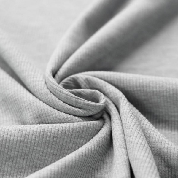Baumwolll-Rippenstrick - Grau melange