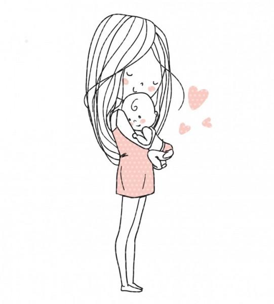 Stickdatei Mutterliebe Mama mit Baby