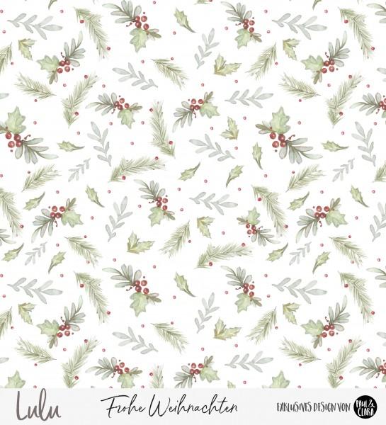 68 cm RESTSTÜCK-Lulu Weihnachten - Blumen Kombi *Bio-Sommersweat*-