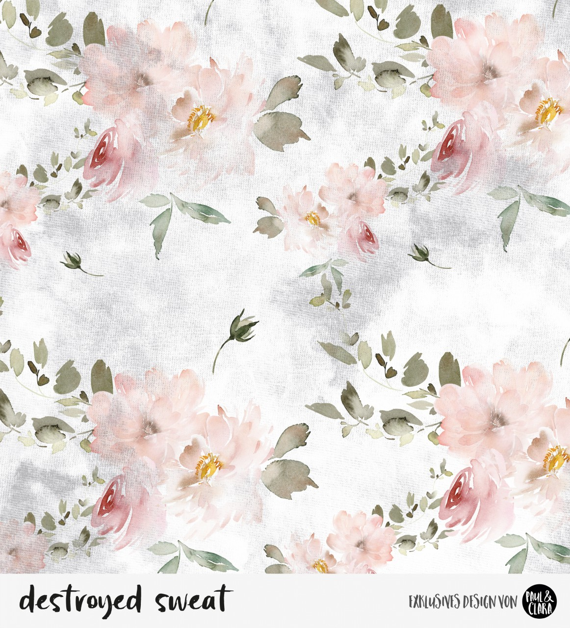 destroyed sweat  flowers - Grau *Bio-Sommersweat*