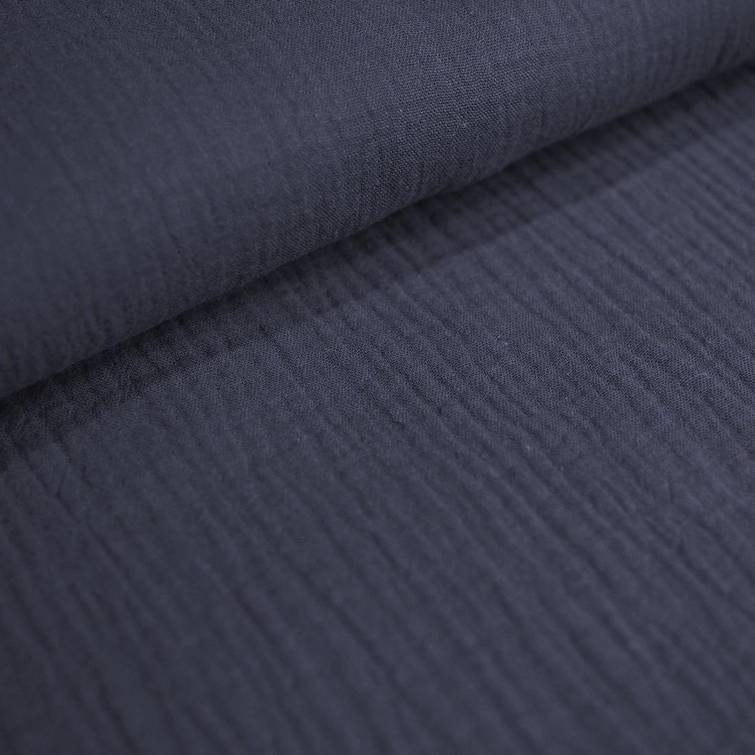 88 cm RESTSTÜCK-Baumwolle Musselin - Jeansblau-