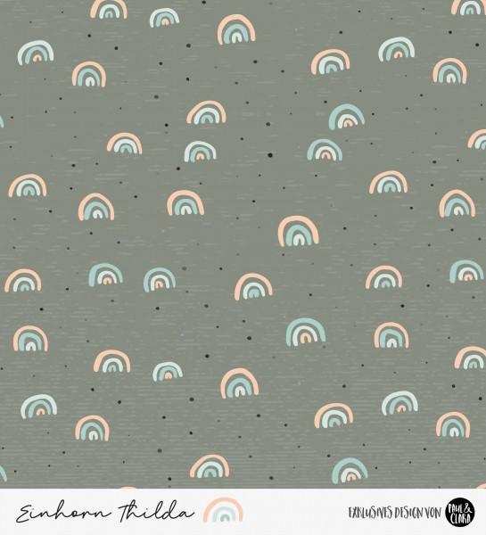 Einhorn Thilda - Regenbögen Grau *Bio-Sommersweat*-44 cm RESTSTÜCK