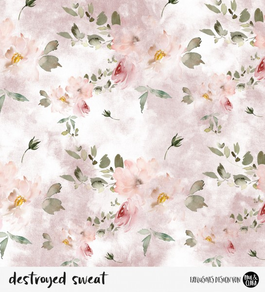 39 cm RESTSTÜCK-destroyed sweat flowers - Rosa *Bio-Sommersweat*-