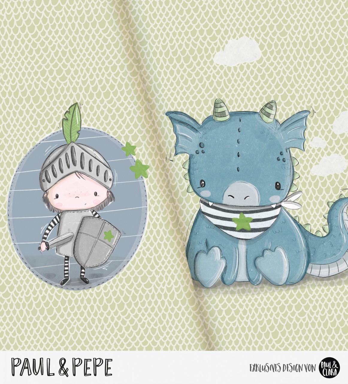 Paul & Pepe - Panel Grün-Blau *Bio-Jersey*